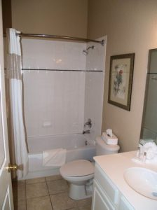 Master ensuite bathroom in condo Bahama Bay Resort Orlando Florida