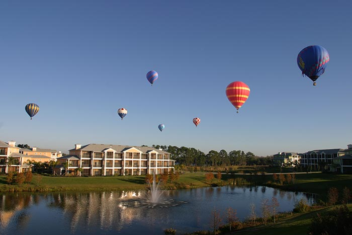 Hot air balloons over Bahama Bay Resort Orlando Florida