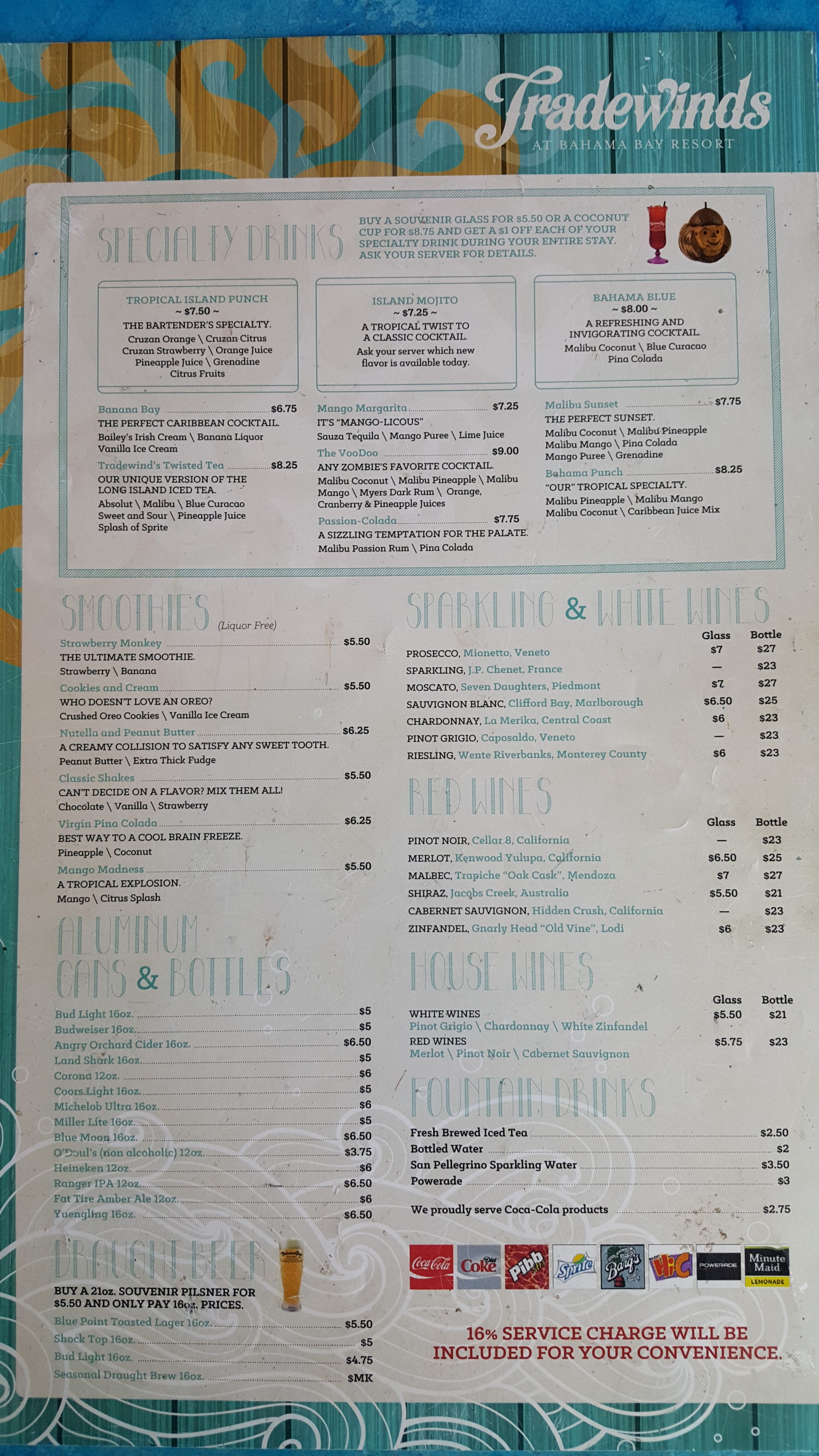 Tradewinds Restaurant Menu Drinks
